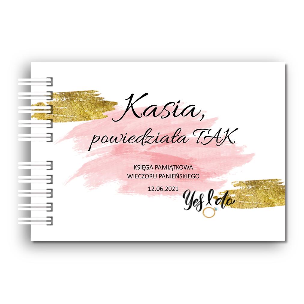 Księga Pamiątkowa Gości na wieczór panieński personalizowana 80 stron A4+ złoto róż