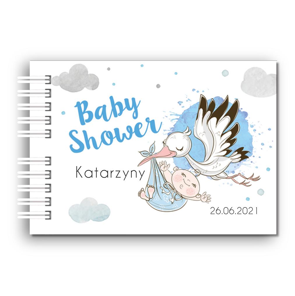 Księga Pamiątkowa Gości na baby shower personalizowana 80 stron A4+ dla chłopca