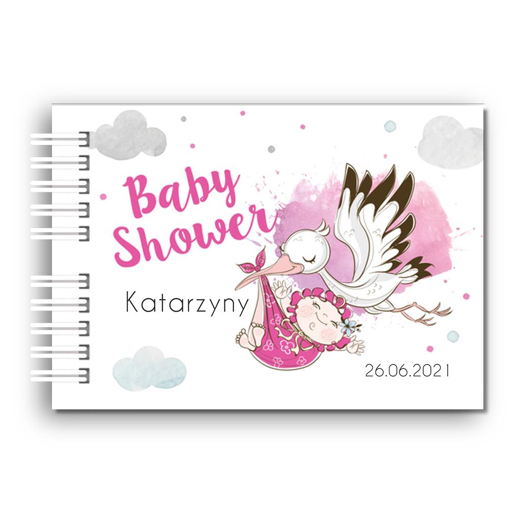 Księga Pamiątkowa Gości na baby shower personalizowana 80 stron A4+ dla dziewczynki