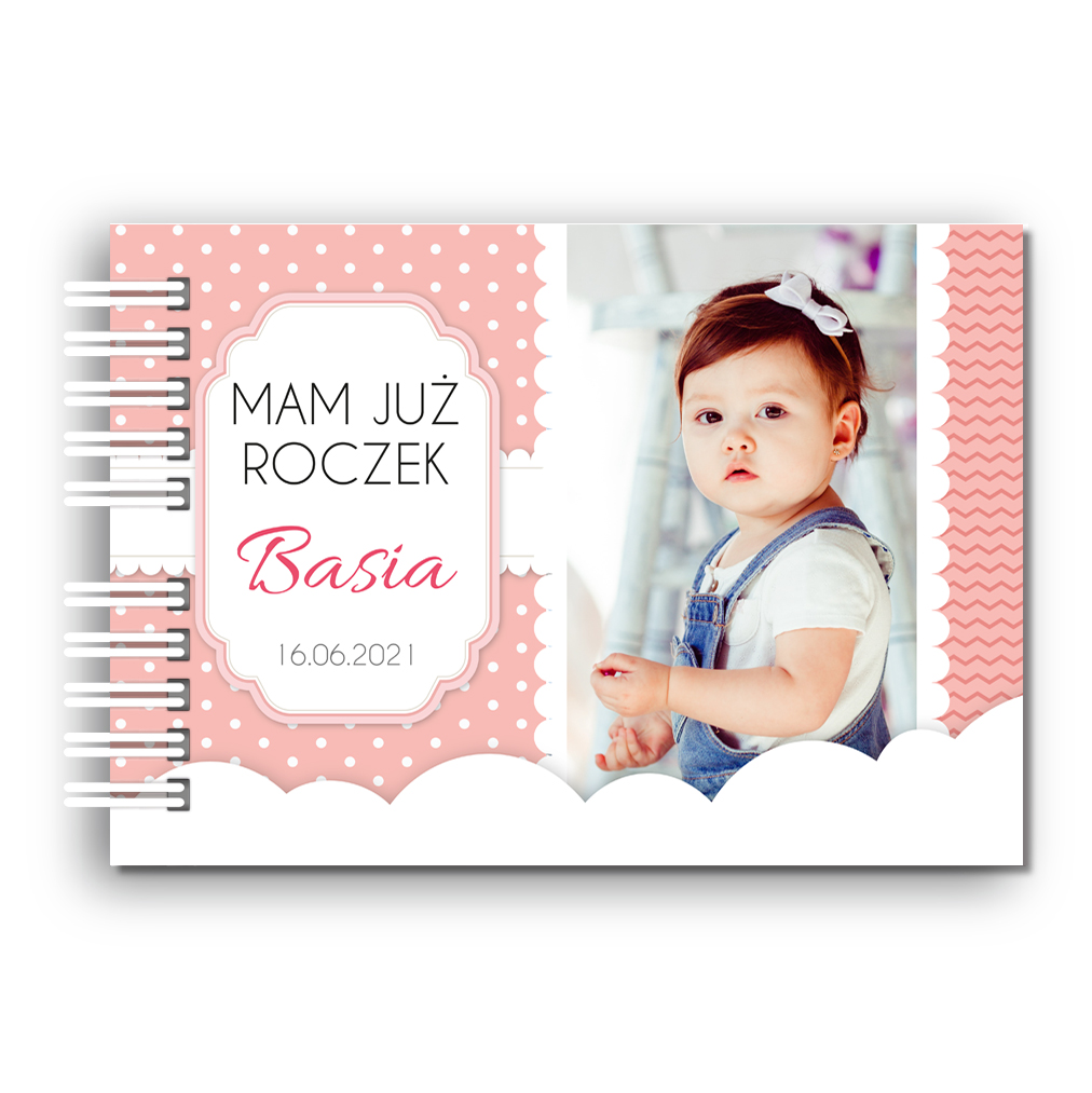 Księga Pamiątkowa Gości na urodziny roczek dla dziewczynki personalizowana 80 stron A4+ różowe kropeczki ze zdjęciem