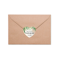 Naklejki serce na podziękowanie ślubne wesele imiona rustykalne zielone liście