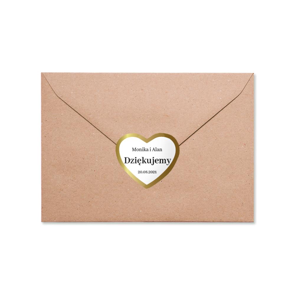 Naklejki serce na podziękowanie ślubne wesele imiona złote glamour