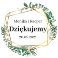 Naklejki ślubne okrągłe ozdobne wesele podziękowania imiona geometryczne rustykalne liście