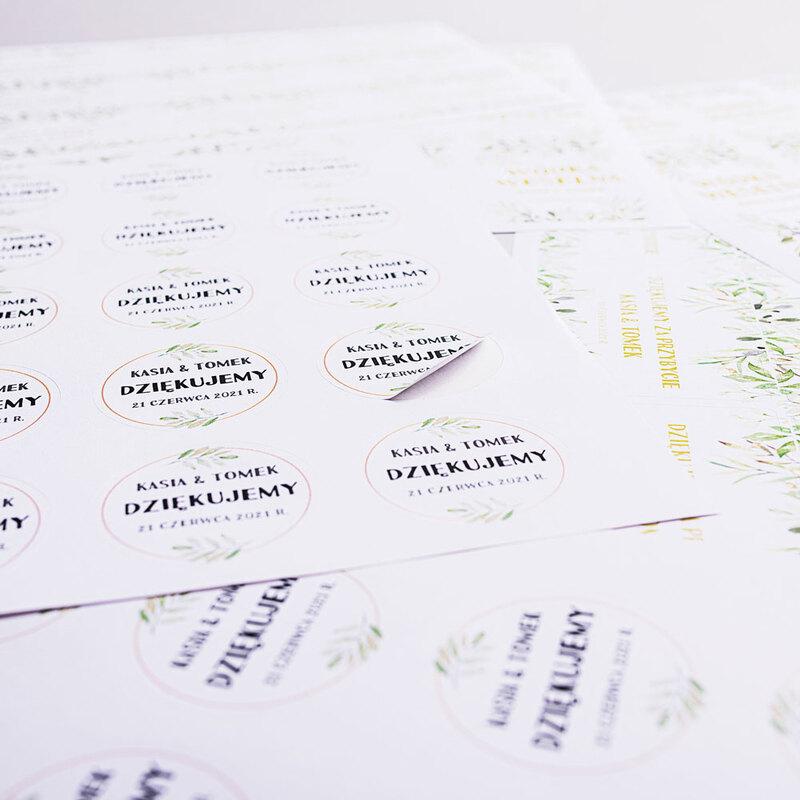 Naklejki ślubne okrągłe ozdobne wesele podziękowania imiona rustykalne botaniczne