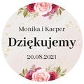 Naklejki ślubne okrągłe ozdobne wesele podziękowania imiona motyw różany