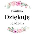 Naklejki komunia okrągłe ozdobne podziękowania kwiatowe dla dziewczynki