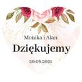 Naklejki serce na podziękowanie ślubne wesele imiona motyw różany
