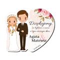 Magnes podziękowanie gości ślub wesele Para Młoda blondynka brunet różany motyw