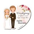 Magnes podziękowanie gości ślub wesele Para Młoda blond różany motyw