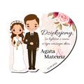 Magnes podziękowanie gości ślub wesele Para Młoda bruneci różany motyw