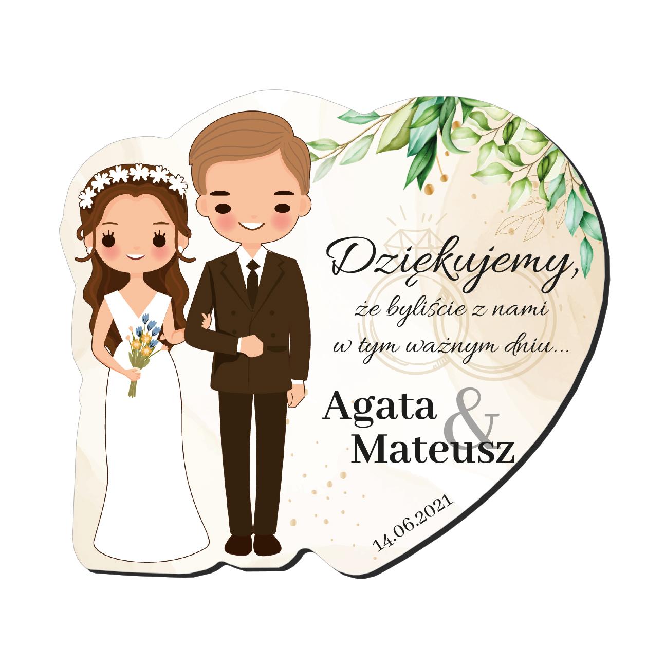 Magnes podziękowanie gości ślub wesele Para Młoda brunetka blondyn imiona serce rustykalne zielone liście