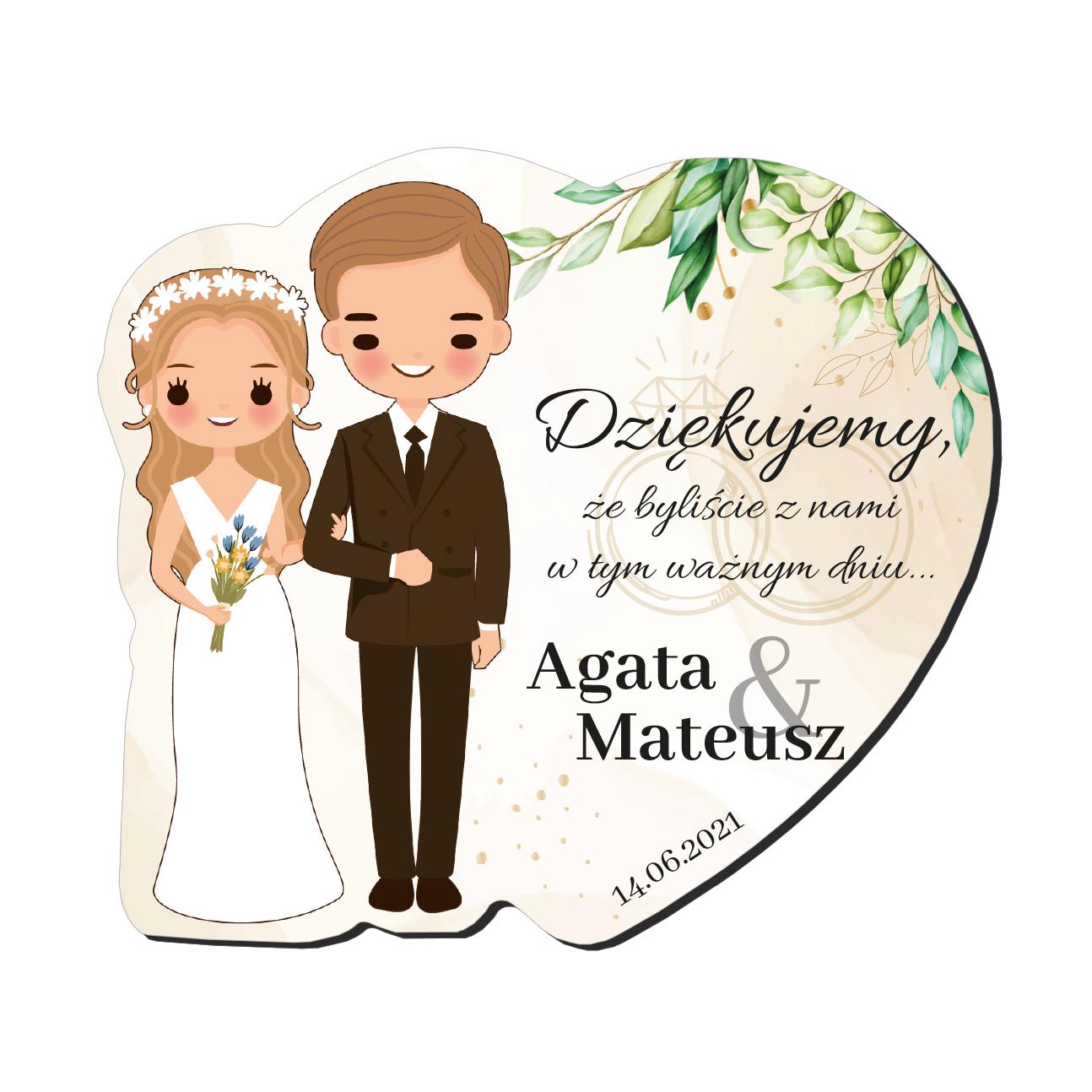 Magnes podziękowanie gości ślub wesele Para Młoda blondyni imiona serce rustykalne zielone liście