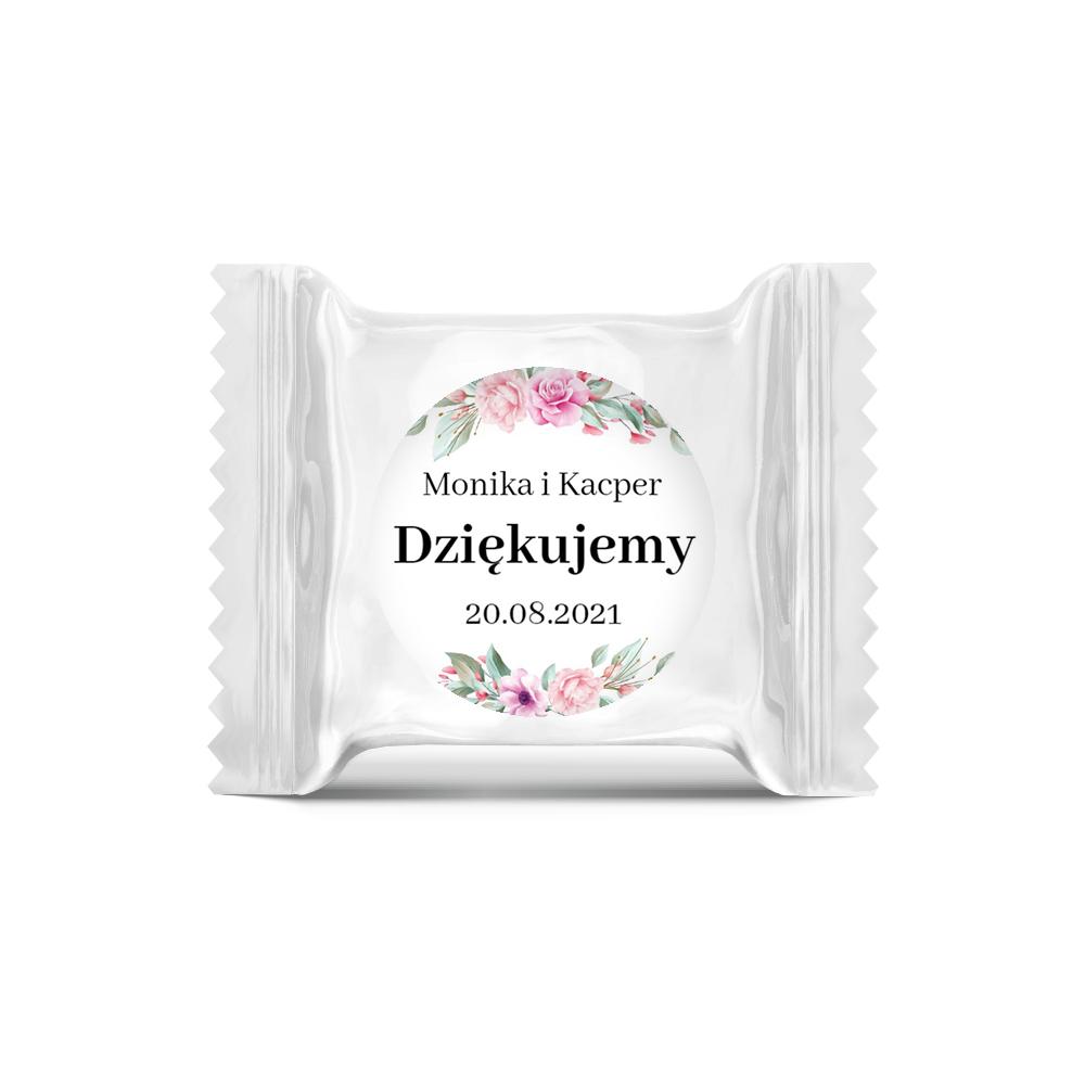 Naklejki ślubne okrągłe 35 mm wesele podziękowania imiona kwiatowe glamour