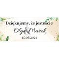 Naklejki etykiety na słoiczki z miodem ślub wesele podziękowanie dla gości rustykalne zielone liście
