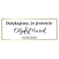 Naklejki etykiety na słoiczki z miodem ślub wesele podziękowanie dla gości złote glamour