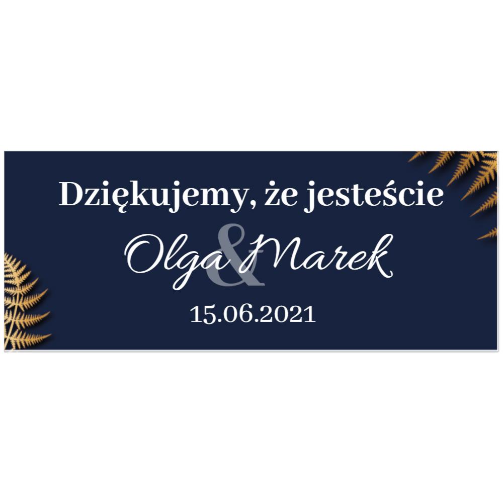 Naklejki etykiety na słoiczki z miodem ślub wesele podziękowanie dla gości granatowe glamour