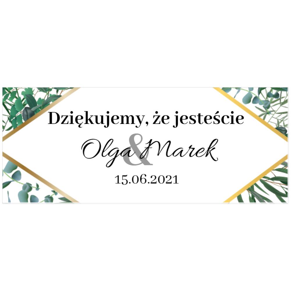 Naklejki etykiety na słoiczki z miodem ślub wesele podziękowanie dla gości liście zielone złote