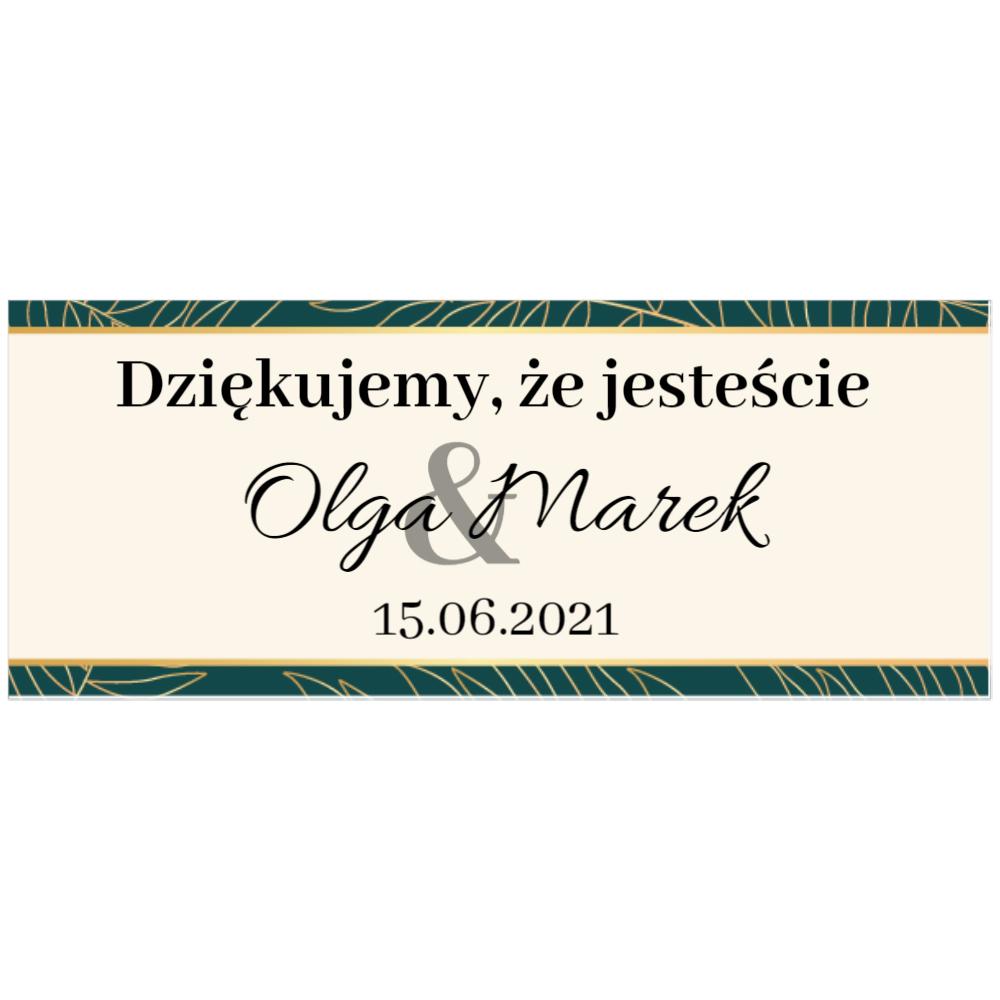 Naklejki etykiety na słoiczki z miodem ślub wesele podziękowanie dla gości geometryczne złote glamour butelkowa zieleń