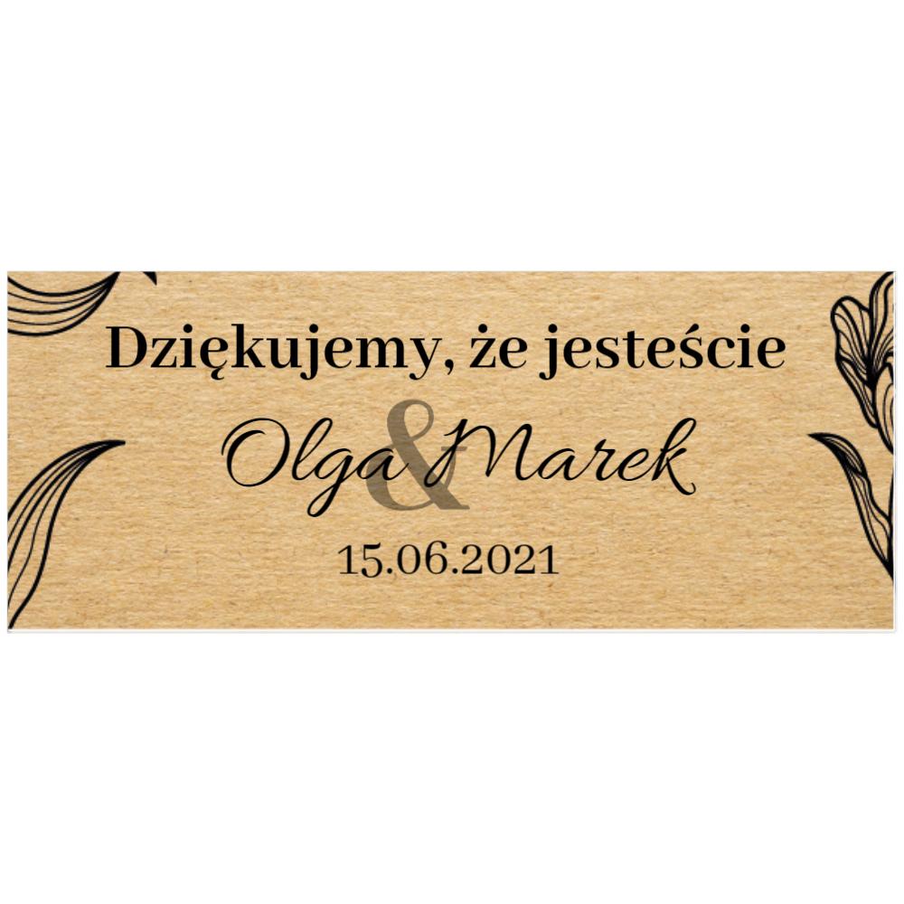 Naklejki etykiety na słoiczki z miodem ślub wesele podziękowanie dla gości eco ekologiczne kwiaty