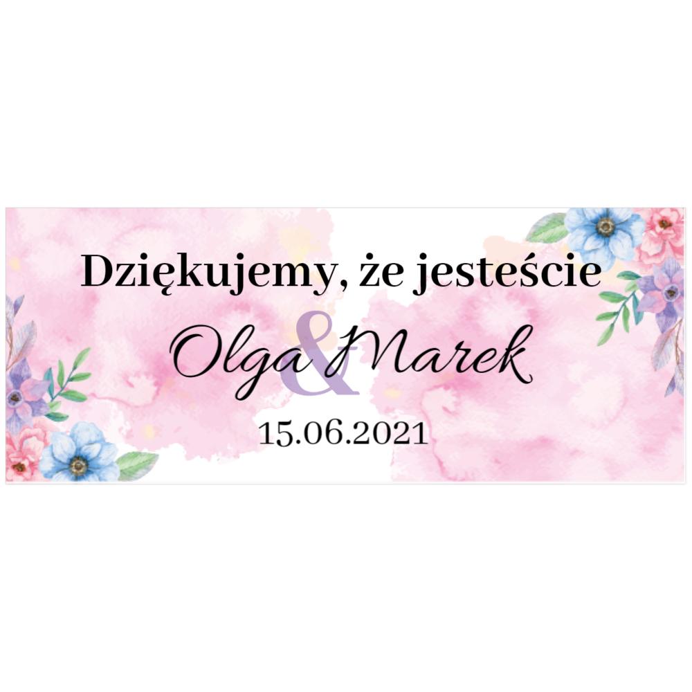 Naklejki etykiety na słoiczki z miodem ślub wesele podziękowanie dla gości kwiatowe kolorowe