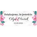 Naklejki etykiety na słoiczki z miodem ślub wesele podziękowanie dla gości kwiatowy glamour
