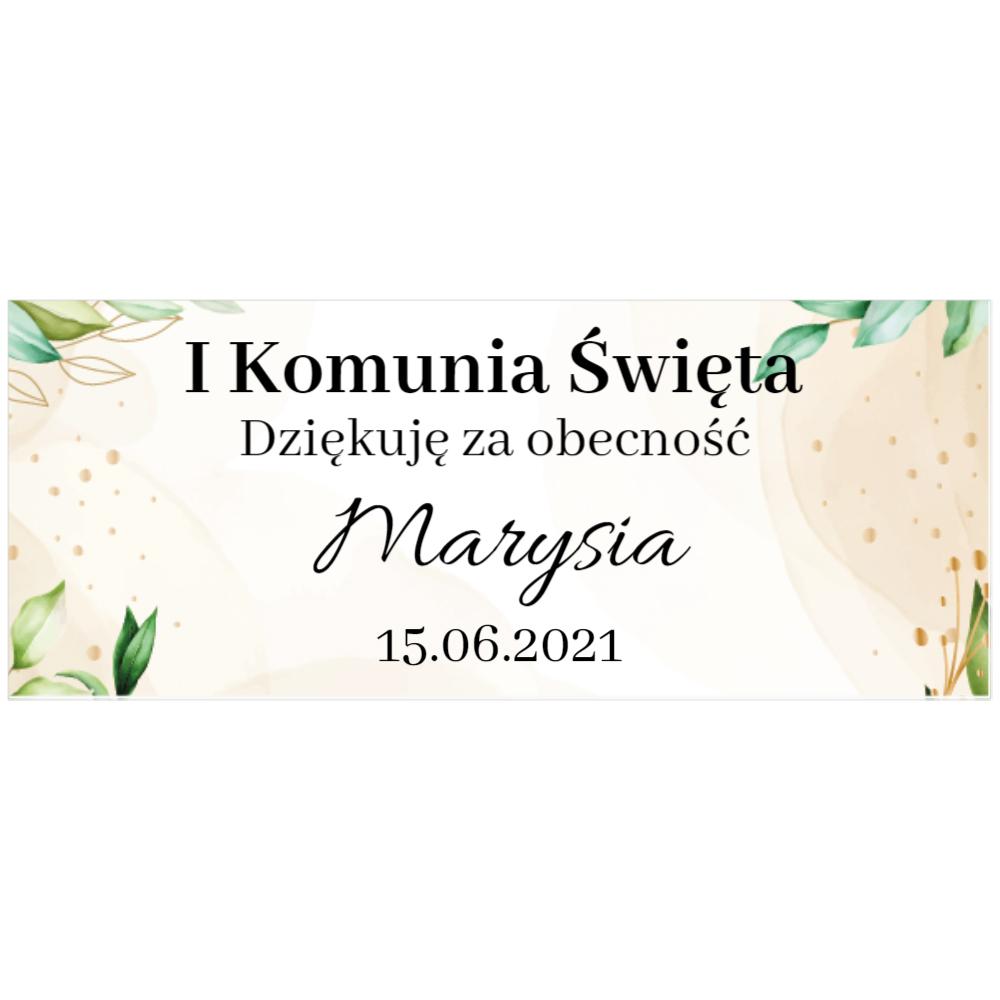 Naklejki etykiety na słoiczki z miodem komunia podziękowanie dla gości rustykalne hostia