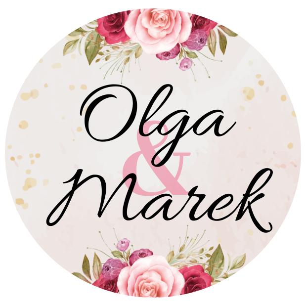 Naklejki etykiety okrągłe na słoiczki z miodem ślub wesele podziękowanie dla gości imiona różany motyw