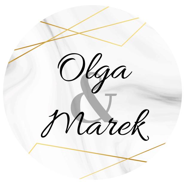 Naklejki etykiety okrągłe na słoiczki z miodem ślub wesele podziękowanie dla gości imiona geometryczne złote