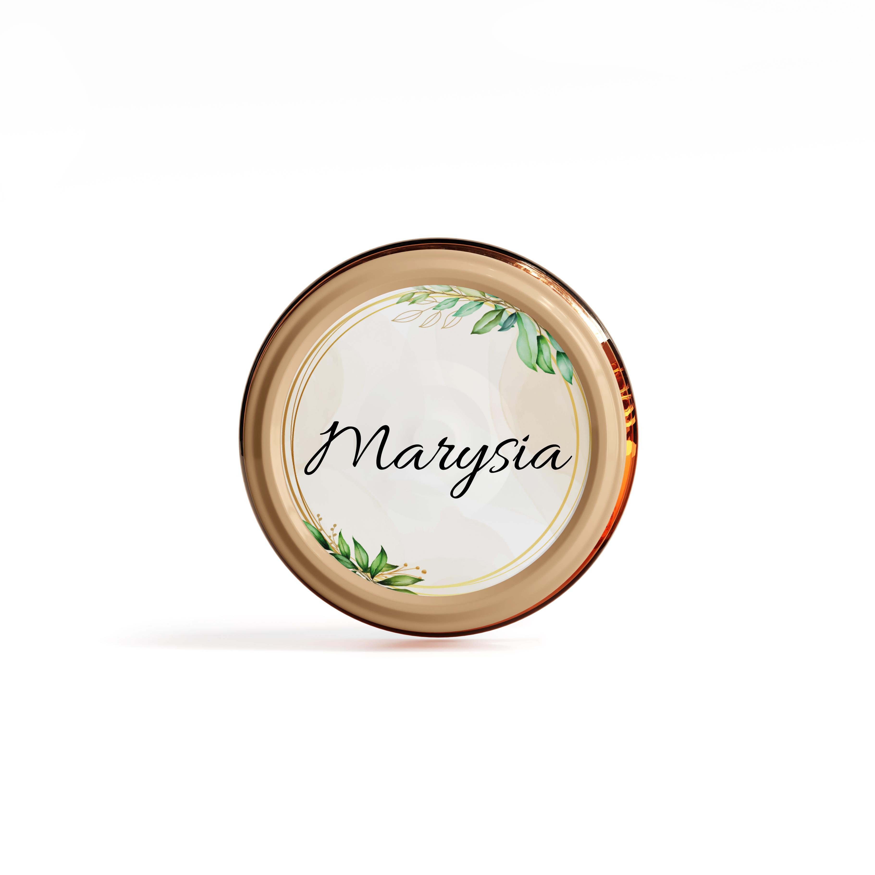 Naklejki etykiety okrągłe z imieniem na słoiczki z miodem komunia podziękowanie dla gości rustykalne hostia