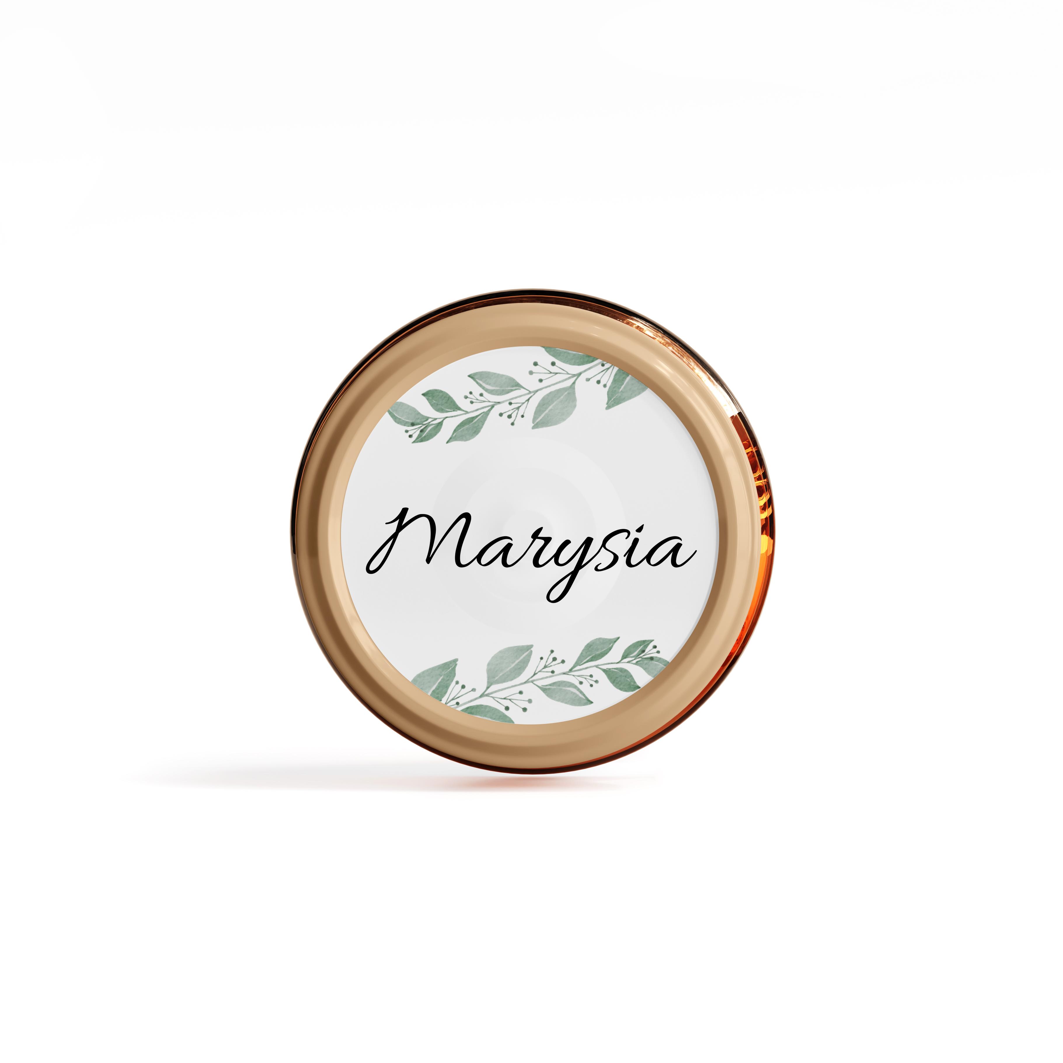 Naklejki etykiety okrągłe z imieniem na słoiczki z miodem chrzest podziękowanie dla gości rustykalne botaniczne