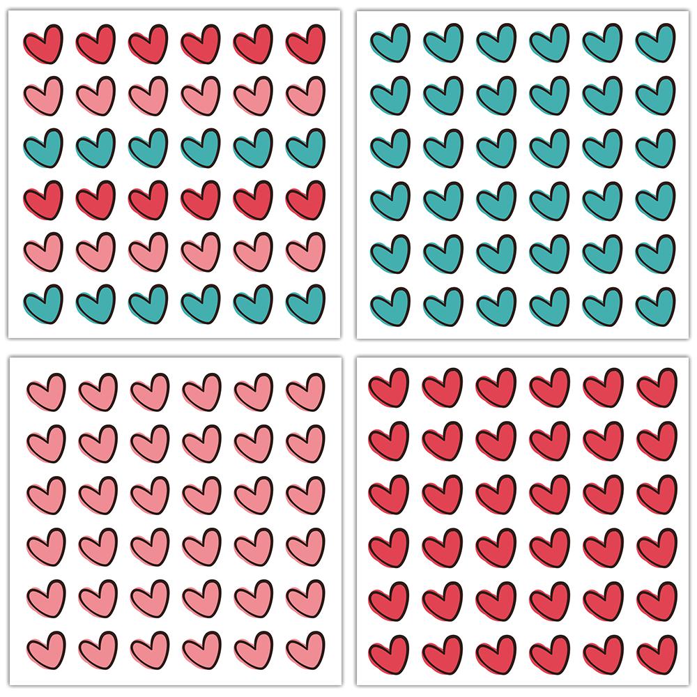 Naklejki ślubne do księgi gości wesele serca różne wzory 8 arkuszy 10x10 cm