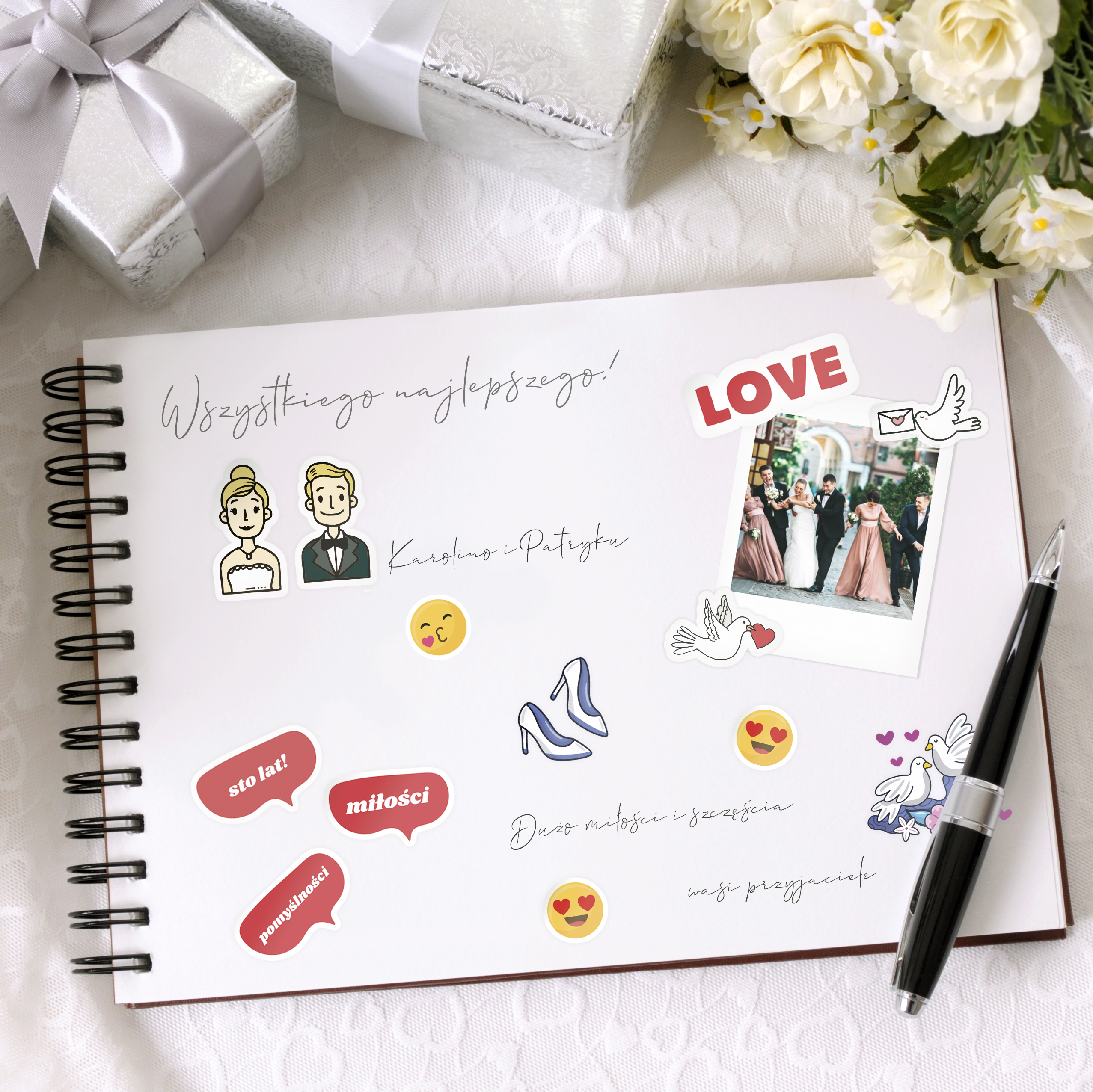 Naklejki ślubne do księgi gości wesele emotki różne wzory 8 arkuszy 10x10 cm