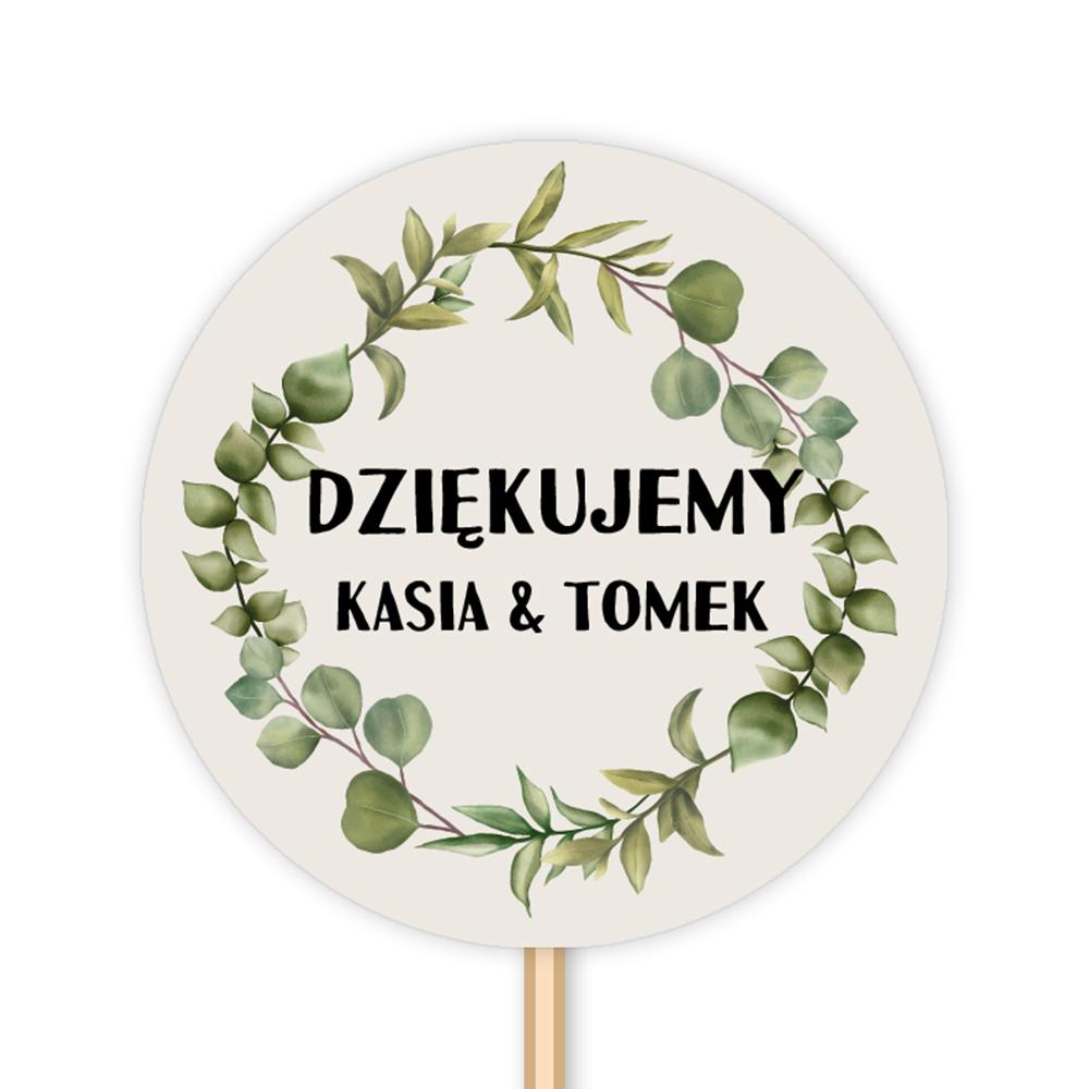 Pikery toppery na babeczki tort weselny personalizowane ślub wesele weselne zielone gałązki rustykalne