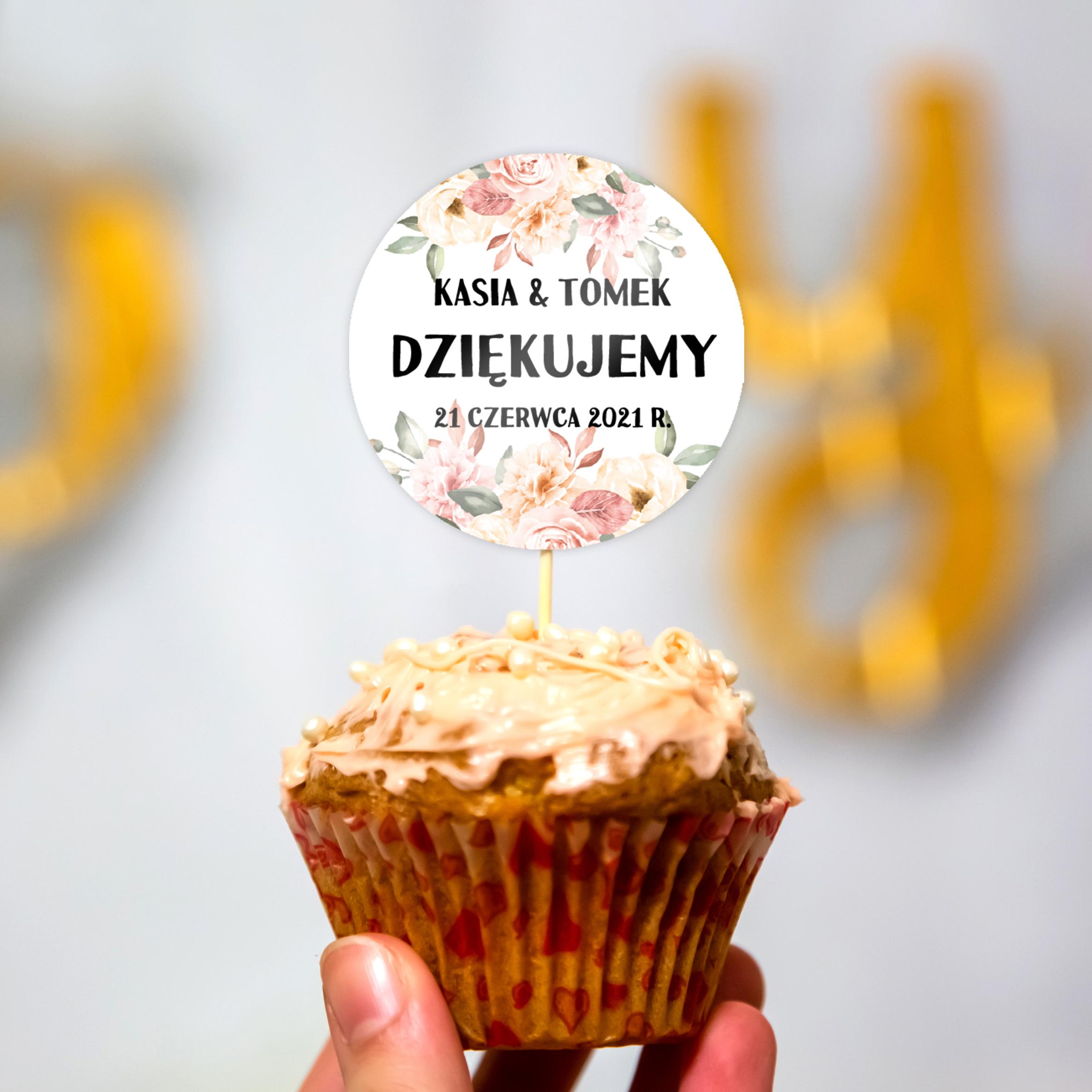 Pikery toppery na babeczki tort weselny personalizowane ślub wesele kwiatowe róże