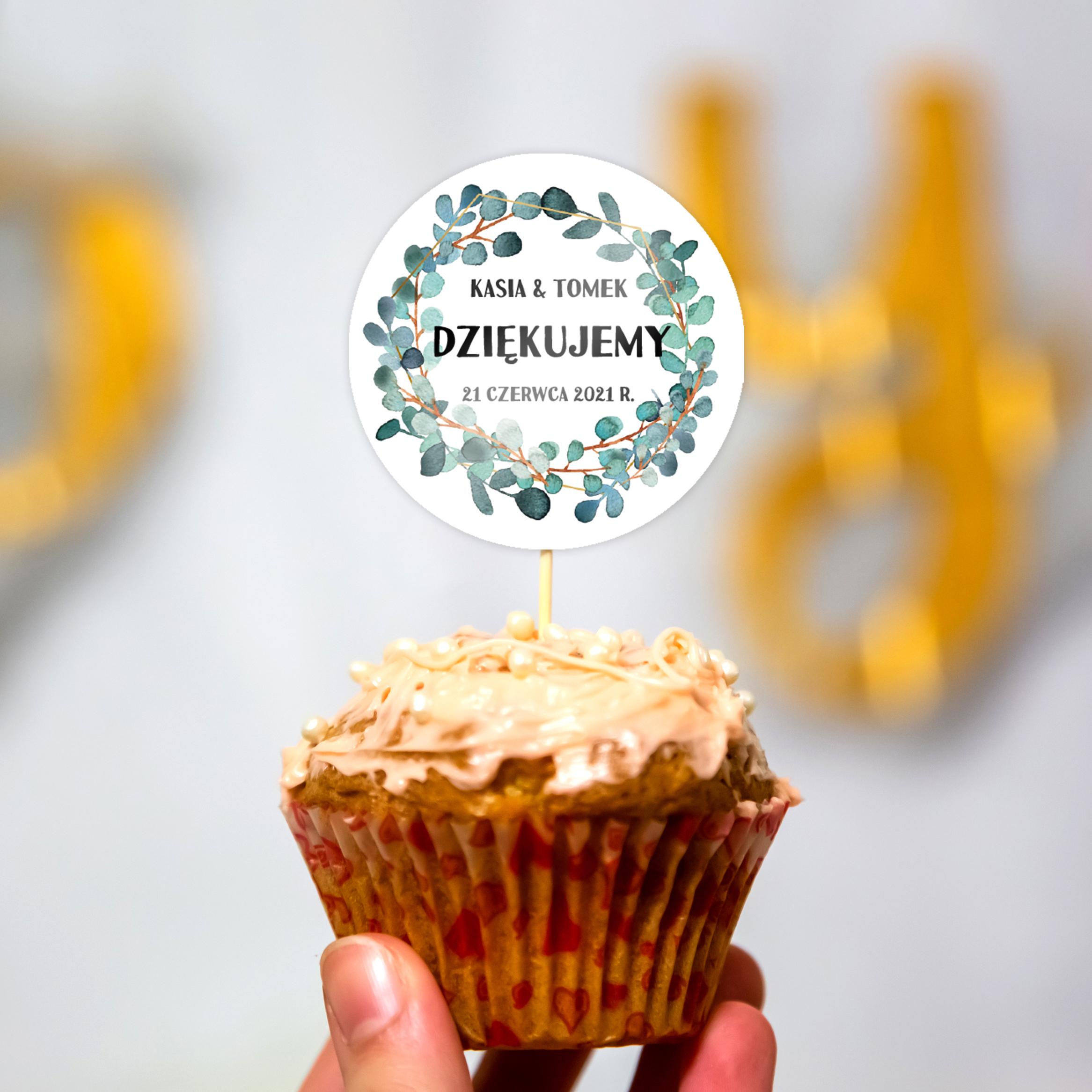 Pikery toppery na babeczki tort weselny personalizowane ślub wesele rustykalne zielone listka