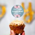 Pikery toppery na babeczki tort weselny personalizowane ślub wesele botaniczne zielone pastelowe kwiaty