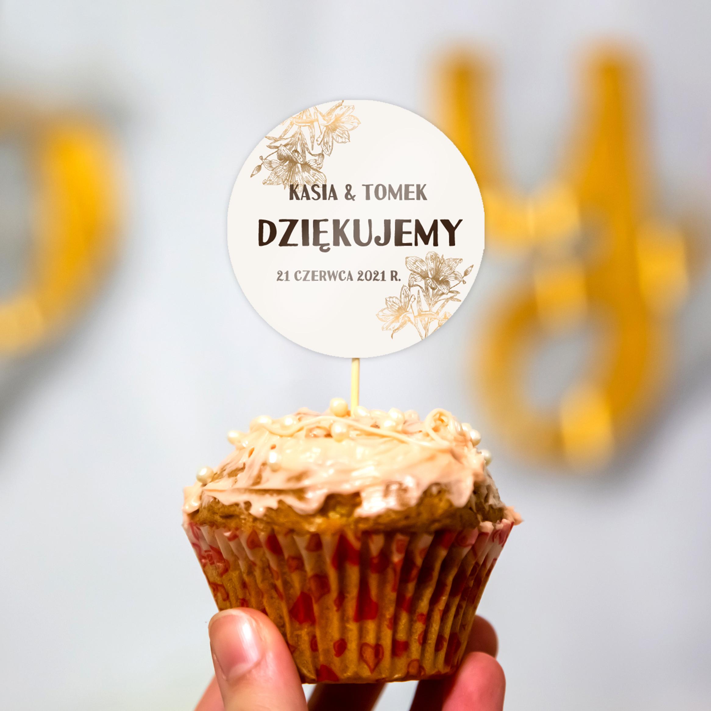 Pikery toppery na babeczki tort weselny personalizowane ślub wesele złote kwiaty glamour