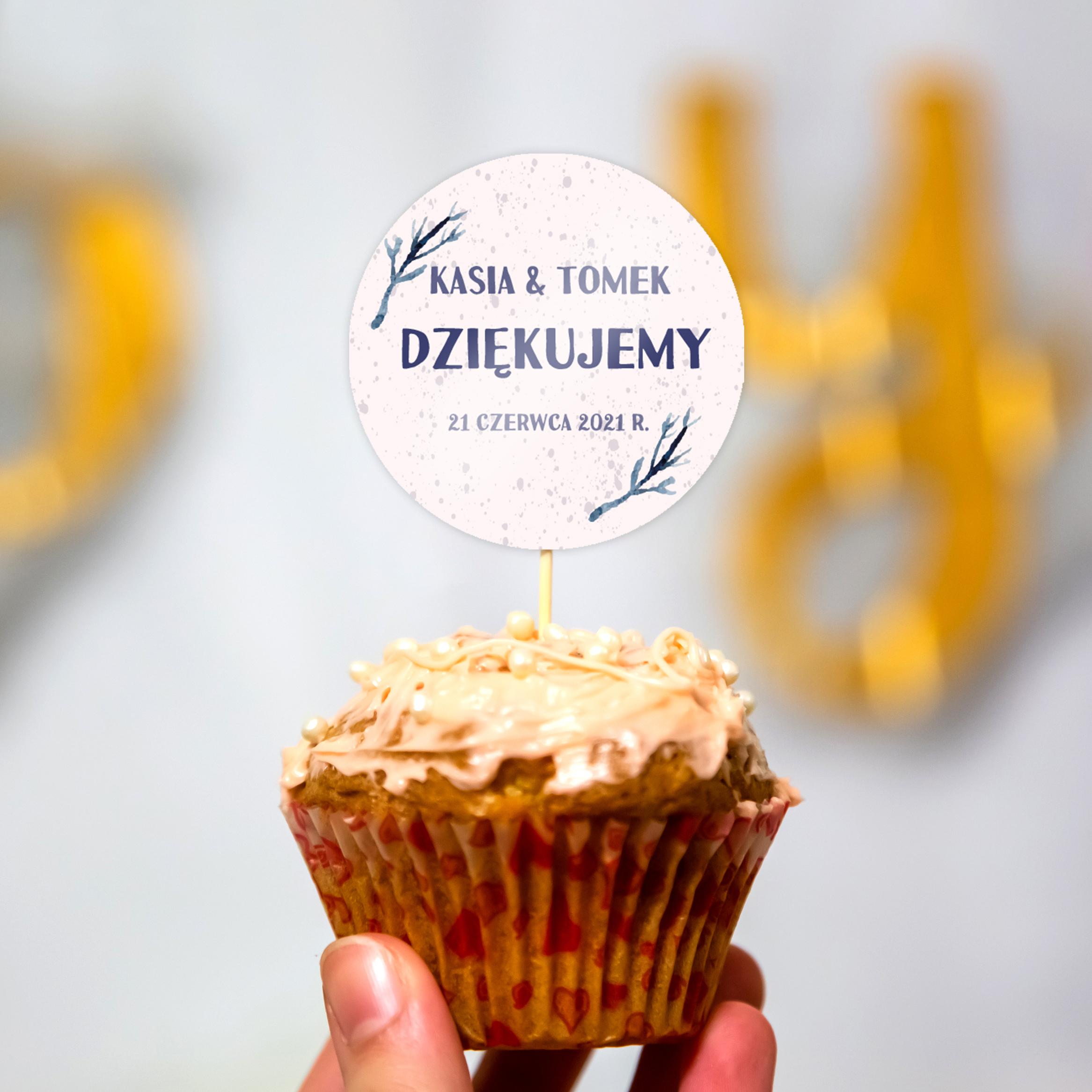 Pikery toppery na babeczki tort weselny personalizowane ślub wesele podziękowania gałązki