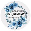 Pikery toppery na babeczki tort weselny personalizowane ślub wesele niebieskie kwiaty