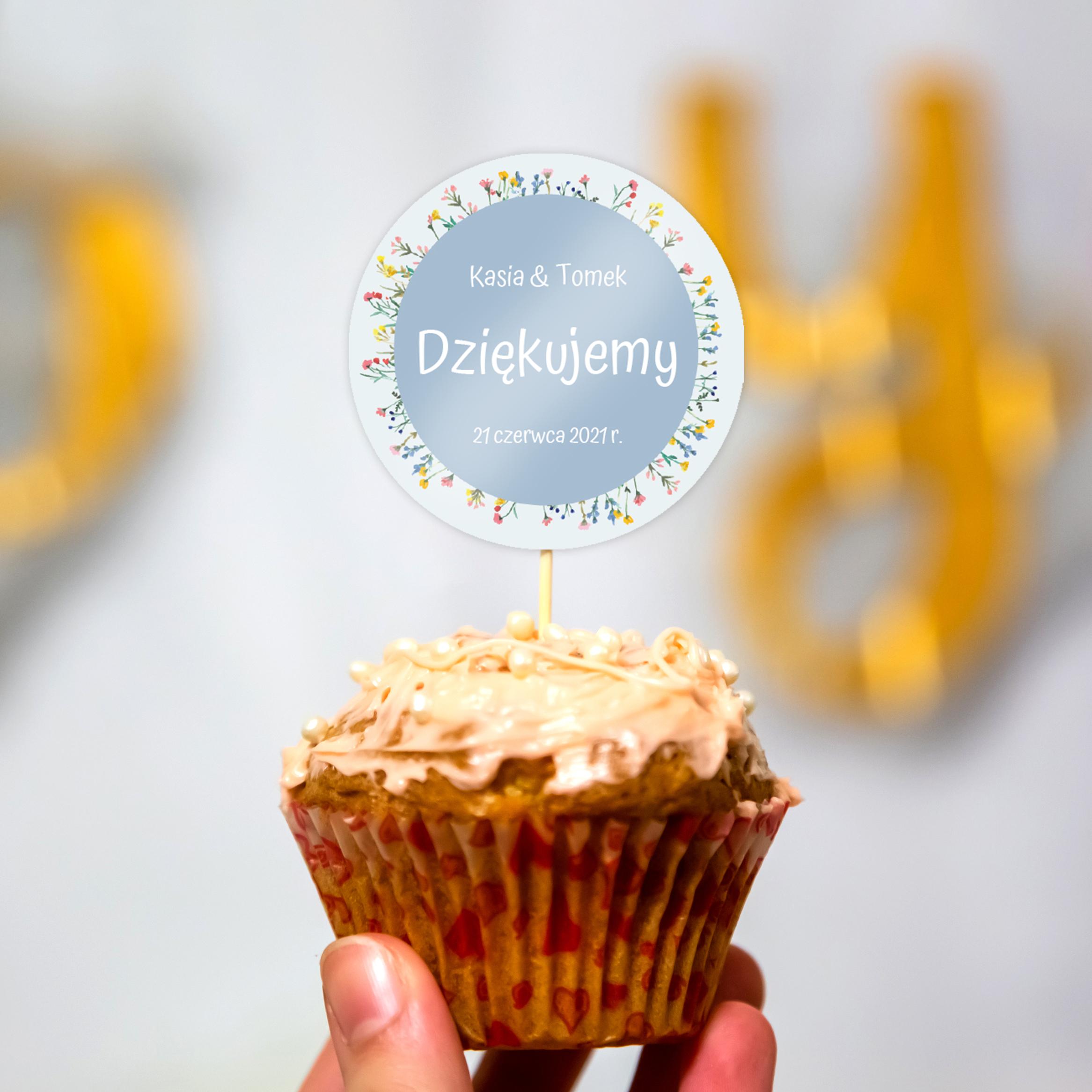 Pikery toppery na babeczki tort weselny personalizowane ślub wesele kwiaty polne