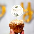 Pikery toppery na babeczki tort weselny personalizowane ślub wesele boho gałązki złote