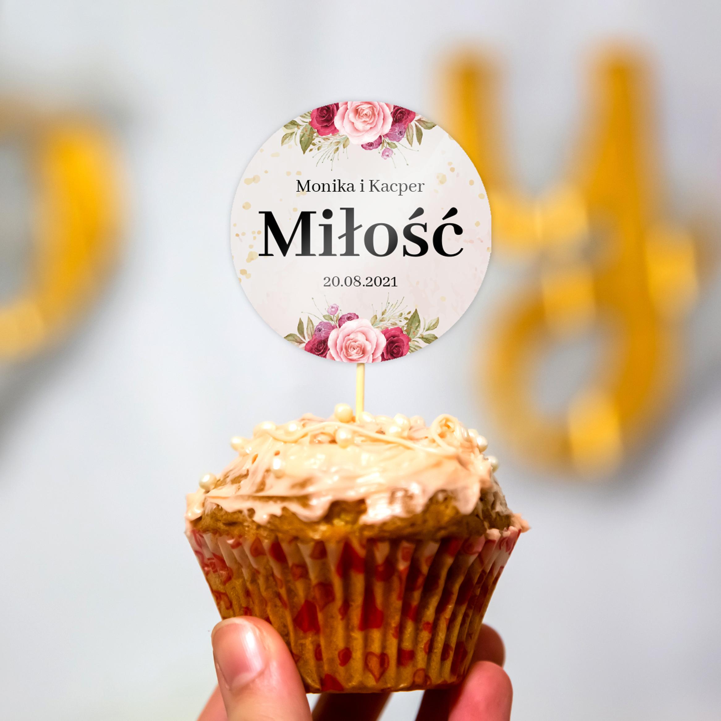 Pikery toppery na babeczki tort weselny personalizowane ślub wesele motyw różany