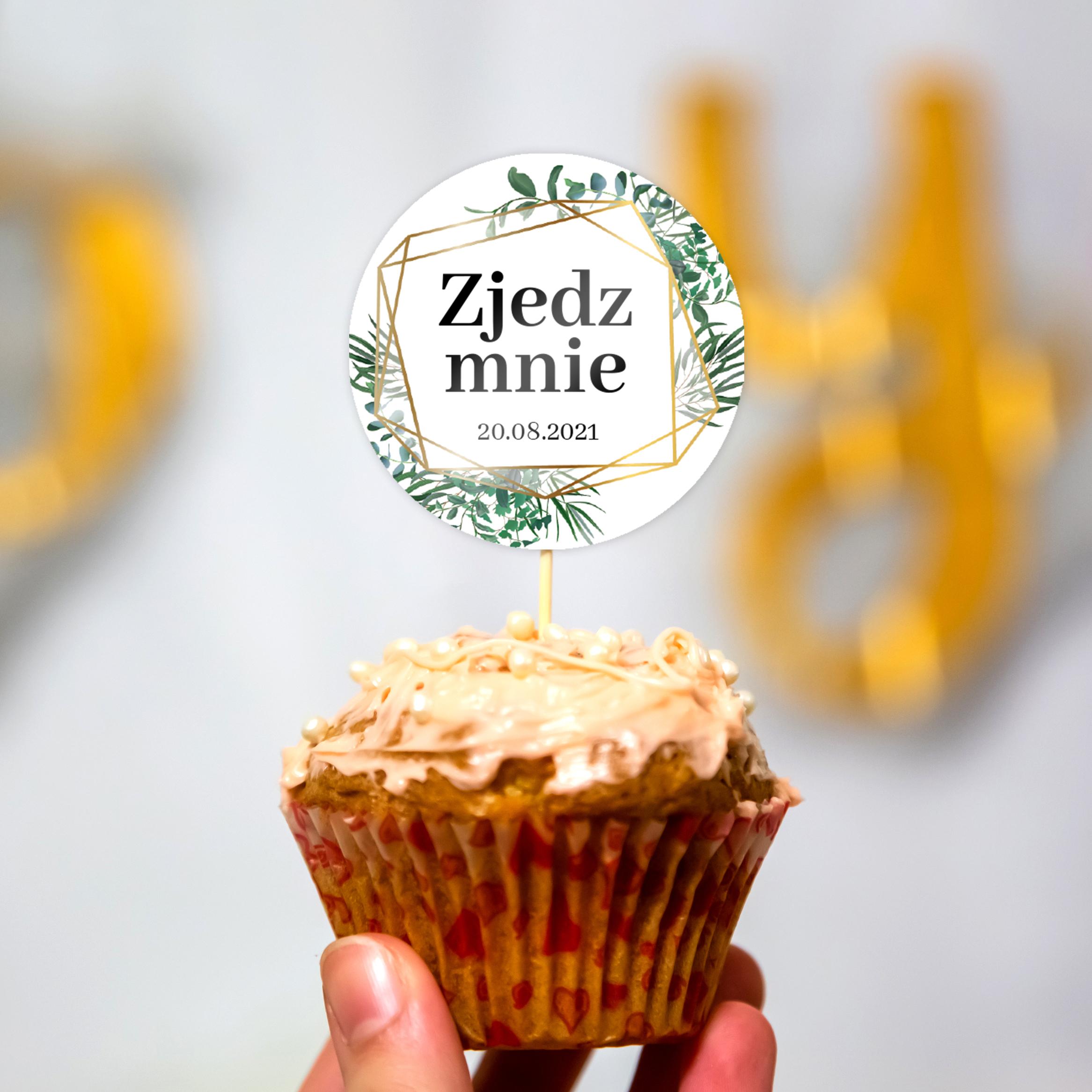 Pikery toppery na babeczki tort weselny personalizowane ślub wesele geometryczne rustykalne liście