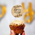 Pikery toppery na babeczki tort weselny personalizowane ślub wesele eco liście