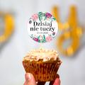 Pikery toppery na babeczki tort weselny personalizowane na ślub wesele geometryczne różowe złoto