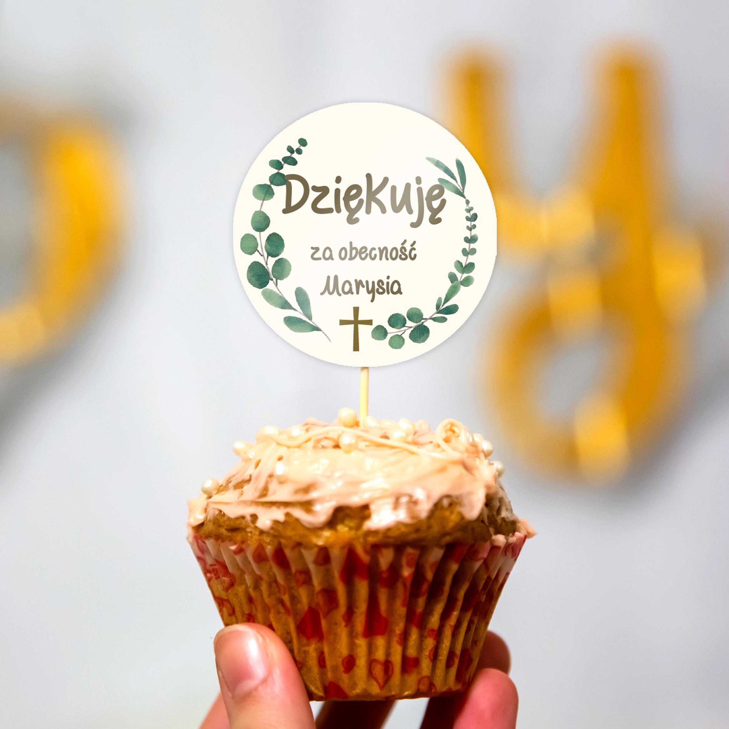 Pikery toppery na babeczki tort personalizowane komunia botaniczne listki krzyż