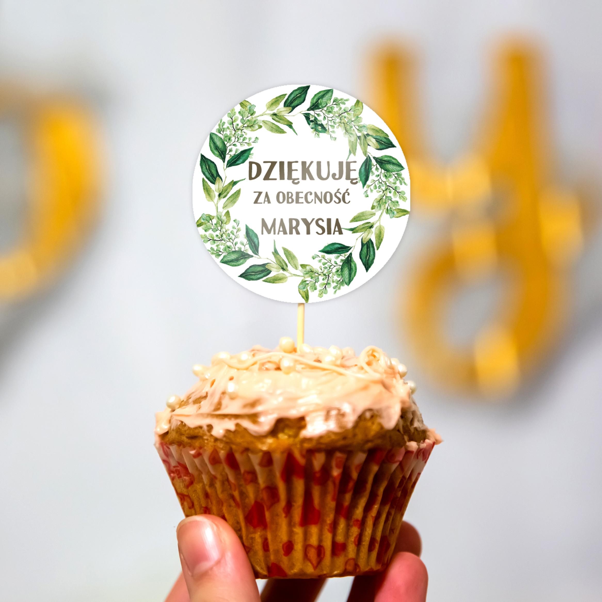 Pikery toppery na babeczki tort personalizowane komunia botaniczne liście