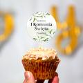 Pikery toppery na babeczki tort personalizowane komunia kwiatowe białe kwiaty