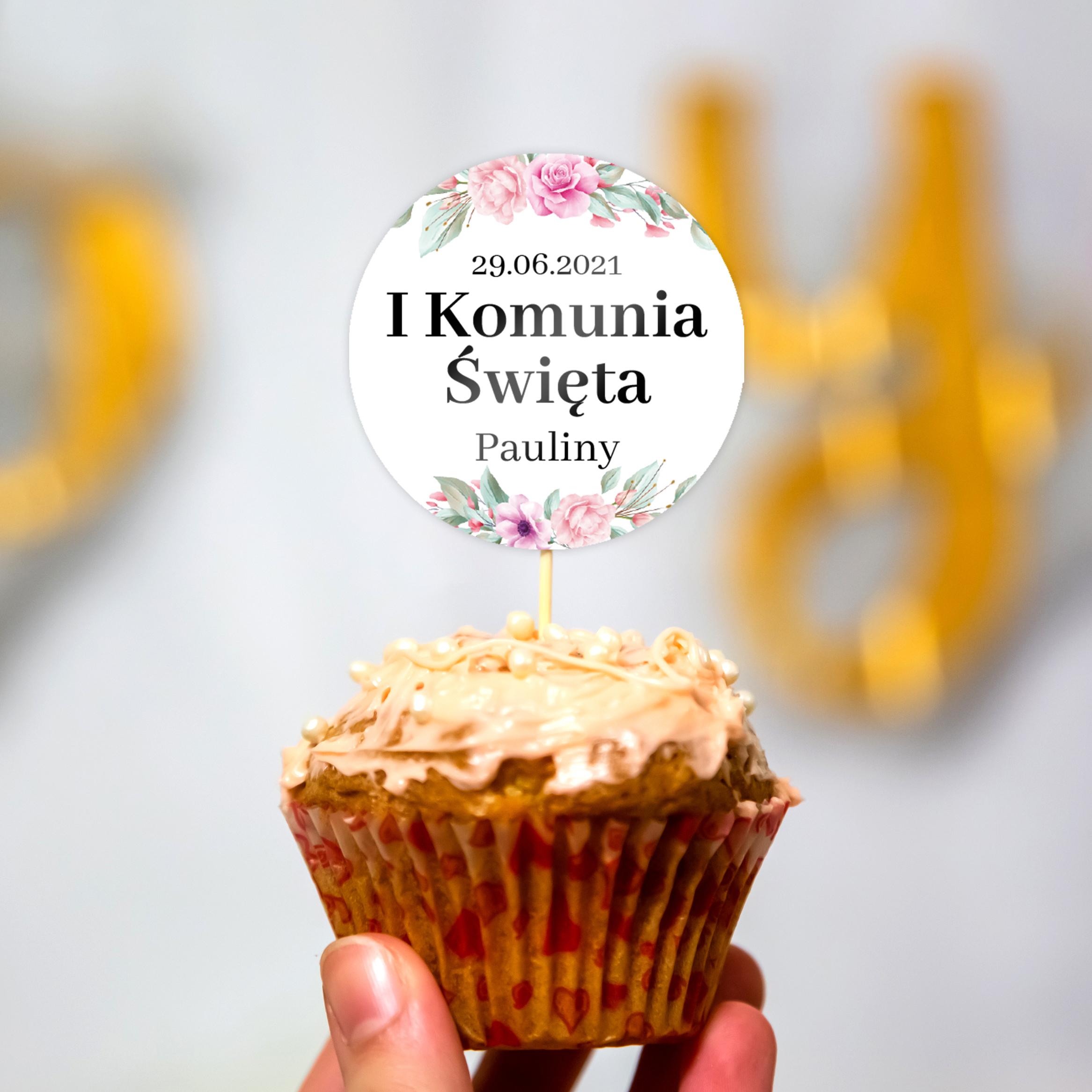 Pikery toppery na babeczki tort personalizowane komunia kwiatowe dla dziewczynki