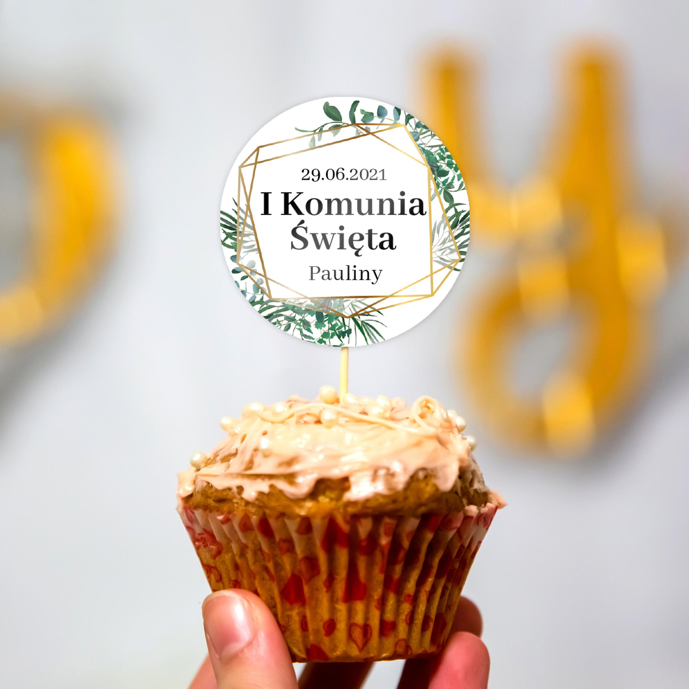 Pikery toppery na babeczki tort personalizowane komunia geometryczne złote rustykalne